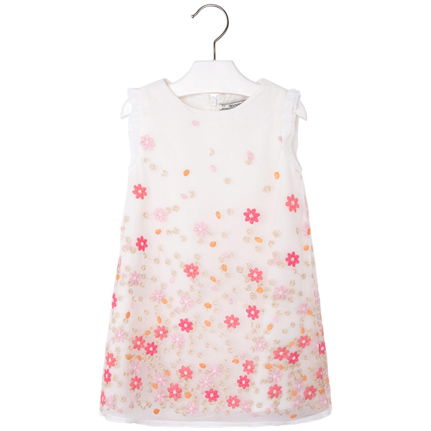 Mayoral Mädchen Kleid weiß mit rosa Blumen bestickt